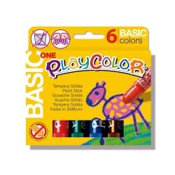 BASIC ONE - Stick de peinture gouache solide 10 g - 6 couleurs assorties - PLAYCOLOR