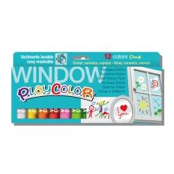 WINDOW ONE - Stick de peinture gouache solide 10 g pour fenêtre, céramique ou miroir - 12 couleurs assorties - PLAYCOLOR