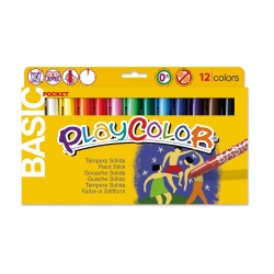 Stylos de Peinture Gouache Solide 5g - Playcolor Basic Pocket - 12 couleurs assorties - 10521