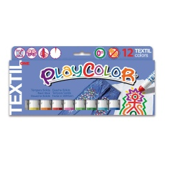 TEXTIL ONE - Stick de peinture gouache solide 10 g - 12 couleurs assorties - PLAYCOLOR
