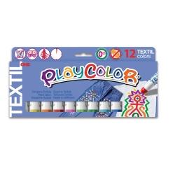 TEXTIL ONE - Stick de peinture gouache solide 10 g - 12 couleurs assorties - PLAYCOLOR