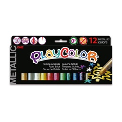 Sticks de Peinture Gouache Solide 10g - Playcolor Metallic One - 12 couleurs assorties - 10121