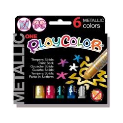 METALLIC ONE - Stick de peinture gouache solide 10 g - 6 couleurs assorties - PLAYCOLOR