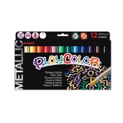 METALLIC POCKET - Stylo de peinture gouache solide 5 g - 12 couleurs assorties - PLAYCOLOR