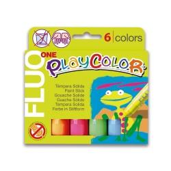 FLUO ONE - Stick de peinture gouache solide 10 g - 6 couleurs assorties - PLAYCOLOR