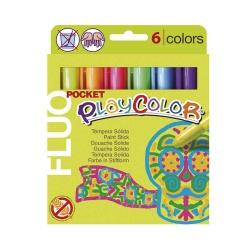 FLUO POCKET - Stylo de peinture gouache solide 5 g - 6 couleurs assorties - PLAYCOLOR