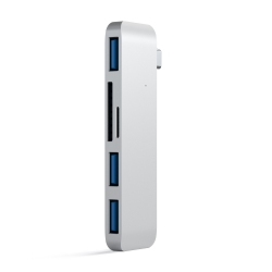 Hub adaptateur 5-en-1 de Type-C vers 3 x USB3.0, 1 Lecteur de cartes SD et 1 micro SD