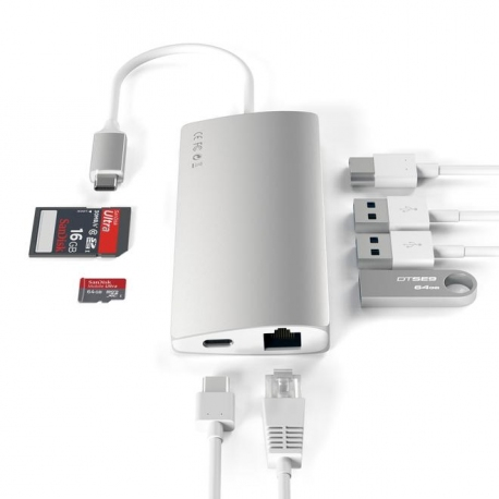 HUB Aluminium multi-ports 8-en-1 type USB-C vers HDMI 4K, Ethernet, Micro SD, SD, 3 x USB3.0 et 1 port Type USB-C