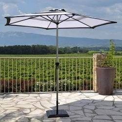 Parasol Canopy Bicolore Blanc/Noir Ø2,7m - Mât Aluminium Ø38mm - Toile Polyester 160g anti UV avec Manivelle