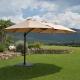 Parasol Ovale Taupe Deporwide 3 Têtes 2,70 x 4,6m - Mât Alu Toile Polyester 180g avec Manivelle