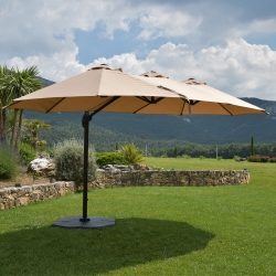 Parasol Ovale Taupe Deporwide 3 Têtes 2,70 x 4,6m - Mât Alu Toile Polyester 180g avec Manivelle