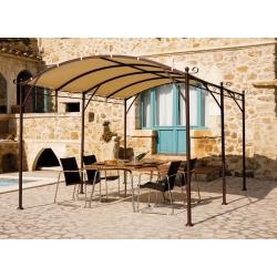Tonnelle Auto-portante ILLUSION 3 x 4m sans Toile - Structure en Acier couleur Chocolat - Peinture Epoxy - Poteaux Ø50mm