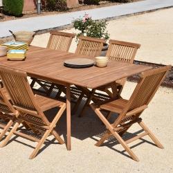 Table rectangulaire en Teck Massif 180/240 cm x 100 cm de large x H75 cm - Rallonge Centrale Papillon 60 cm - Teck 100% FSC