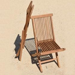 Chaise en Teck Massif Pliante Densapar Dim : 48x62x93 cm Teck 100% FSC, Grade BC Finement Poncé