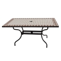 Table rectangulaire MOZAIK 160 x 90 cm - Plateau en mosaïque - Pieds en métal avec trou pour parasol - Peinture epoxy chocolat