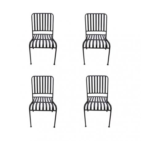 Lot de 4 chaises MOZAIK empilable en métal 57 x 45 cm sans coussin Coloris Marron effet rouille