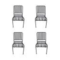Lot de 4 chaises en métal MOZAIK empilables 57 x 45 cm - Vendues sans coussin - Peinture epoxy chocolat