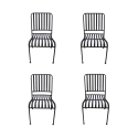 Set of 4 MOZAIK metal chairs stackable 57 x 45 cm - Sold without cushion - Chocolate epoxy paint