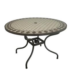 Table Ronde Mozaik Diamiètre 110 cm, Plateau en mosaique, Pied en metal avec trou pour parasol Coloris Marron effet rouille