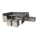 Salon de jardin d'angle et repas - 6 pièces en résine tressée - Métal enduit de poudre