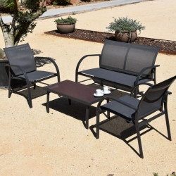 Salon bas 4 pieces FRIENDLY Structure en métal anthracite assise textilene