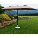 Parasol Droit Ovale Taupe WIDE 3 têtes 2,70 x 4,65 m - Mât Rond en aluminium Ø48mm - Toile Polyester 180g avec manivelle