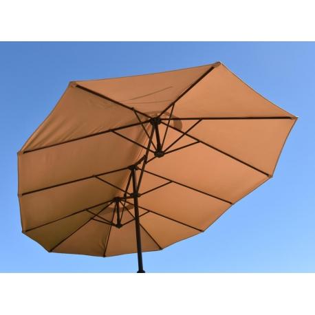 Parasol Wide Droit Taupe Ovale 3 Têtes 2,70 x 4,65m Mât Rond Alu Ø48mm Toile 180g Polyester avec Manivelle