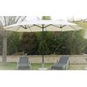 Parasol Droit Ovale Ecru WIDE 3 têtes 2,70 x 4,65 m - Mât Rond en aluminium Ø48mm - Toile Polyester 180g avec manivelle