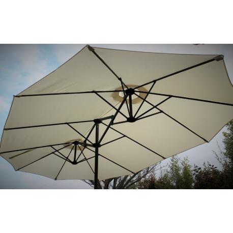 Parasol Wide Droit Ecru Ovale 3 Têtes 2,70 x 4,65m Mât Rond Alu Ø48mm Toile 180g Polyester avec Manivelle