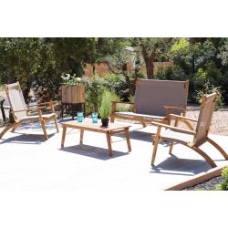 Ensemble PRIMAVERA TAUPE en acacia huilé - Assise et dossier en tissu - 1 table + 2 fauteuils + 1 banquette