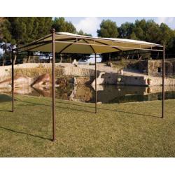 Tonnelle Carrée 3,5 x 3,5m sans Toile - Structure en Acier couleur Rouille - Poteaux Ø50mm