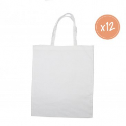Grand Sac Shopping en Coton 100G/M2 à Personnaliser - 37x42cm - Coloris Blanc