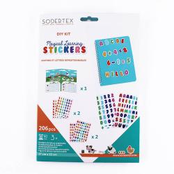 Pack de 206 Stickers Repositionnables Chiffres et Lettres - 17x22cm - Assortiment de Couleurs