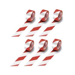Ruban adhésif de marquage au sol 48 mm x 50 m - Rouge et Blanc