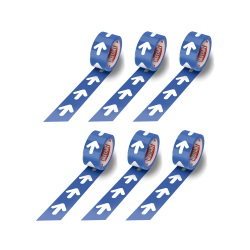 Ruban adhésif de marquage au sol fléché 48 mm x 50 m - Bleu et Blanc