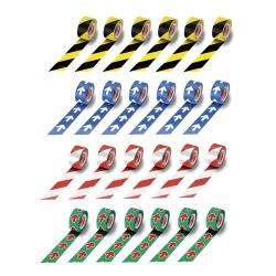 Ruban adhésif de marquage au sol fléché 48 mm x 50 m - Vert et Rouge