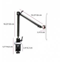 Support Tablette Fixation Etau à 2 Bras Longs - The Joy Factory - Fibre de carbone - MMU103
