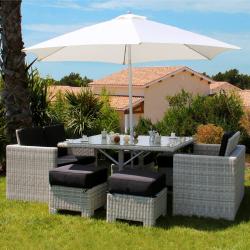 Salon de jardin d'angle et repas OECANE - 8 pièces en rotin synthétique tressé - Structure Aluminium