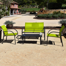 Garden Furniture 4 Rooms - Metal and Textilene Structure - Anthracite