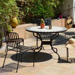 Table Ronde MOZAIK Ø 110 cm, Plateau en mosaique, Pied en metal demontable avec trou central pour parasol