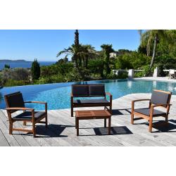 SASSARI 4 Piece Garden Set - FSC Oiled Acacia Structure - Anthracite Cushions