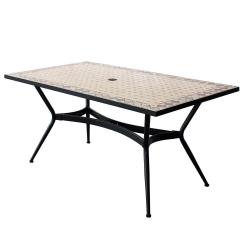 Table Rectangulaire Zelie 160x90 cm avec Plateau en Mosaïque, Pied en Métal avec Trou pour Parasol - Peinture Epoxy Chocolat