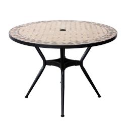 Table Ronde ZELIE Diamètre 110cm, Plateau en Mosaique, Pied en Métal avec Trou pour Parasol - Coloris Peinture Epoxy Chocolat
