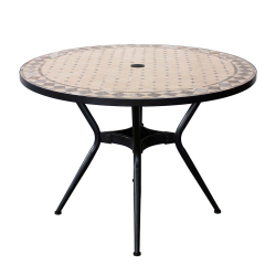 ZELIE Round Table Diameter 110cm, Mosaic Top, Metal Leg with Hole for Parasol - Chocolate Epoxy Paint Color