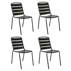 Lot de 4 chaises Zelie Empilables en Métal 57x48x83cm Sans Coussin - Coloris Noir