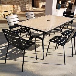 4 Chaises + 2 Fauteuils + Table Rect Zelie 160x90cm avec Plateau en Mosaïque, Pied en Métal avec Trou Parasol