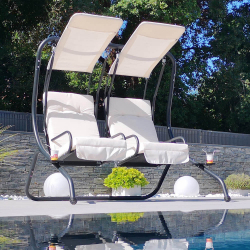 Balancelle Double LOVERS - Armature en métal traité - Assise et auvent en polyester blanc