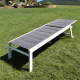XXL aluminum sun lounger FORLI 202x75x65 cm - With Wheels - White structure with gray quilted canvas