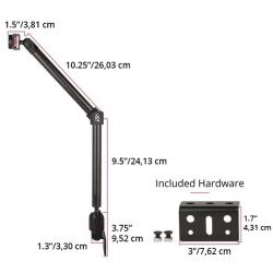 Support rail fauteuil roulant à double bras longs (Vendu sans Coque)