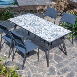 Ensemble de Jardin GENOZA - 4 Chaises + Table Rect 162x82cm avec Plateau en Mosaïque Bleu